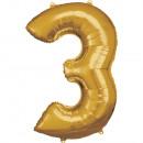 Nagy számú, N34 aranyfólia ballon, 53 cm-es csomag