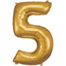 Nagy számú, N34 aranyfólia ballon, 58 cm-es csomag