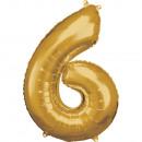 Nagy számú, N34 méretű, arany fólia léggömb, 55 cm