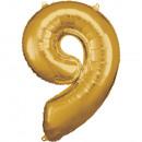 Nagy számú, N34 típusú aranyfólia léggömb, 63 cm-e