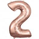 Nagy szám 2, N34 rózsa arany fólia léggömb csomago