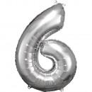 Nagy számú, ezüst fólia ballon N34 csomagolva 55