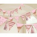 Bannière drapeau papier d'anniversaire or rose