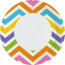 8 Teller Rainbow Chevron Papier rund 22,8 cm