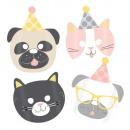 Großhandel Kleider: 8 Masken Hello Pets Papier 16,7 x 23,2 cm
