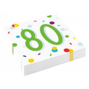 20 napkins Confetti Birthday 80 33 x 33 cm