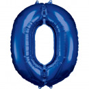 Nagy szám 0, N34, kék fólia ballonnal, 66cm-es cso