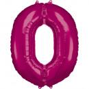 Nagy szám 0 rózsaszínű fólia ballon N34 csomagolt