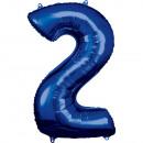 Nagy szám 2, N34 kék fólia ballon, 50cm-es csomago