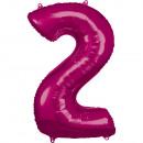 Nagy szám 2, N34 rózsaszínű fólia léggömb csomagol