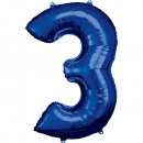 Nagy számú, 3-as, N34-es, kék fólia léggömb csomag