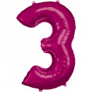 Nagy szám 3, N34 rózsaszínű fólia léggömb, 53cm-es
