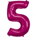 Nagy számú, N34 méretű, rózsaszínű fólia ballon cs