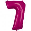 Nagy szám 7, N34 rózsaszínű fólia ballon csomagolv