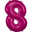 Nagy szám 8, N34 rózsaszínű fólia léggömb csomagol