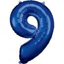 Nagy számú, N34 típusú, kék fólia léggömb, 63cm-es
