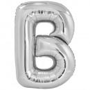 Grote letter B zilverfolie ballon N34 pack