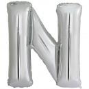 Hoofdletter N zilverfolie ballon N34 pack