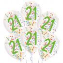 6 gotas de globos de látex 21 cumpleaños de confet