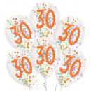 6 gotas de globos de látex 30 cumpleaños de confet