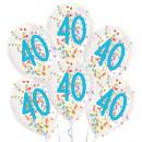 6 globos de látex Gotitas 40 Confeti Cumpleaños 1C