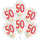 6 globos de látex Gotitas 50 Confeti Cumpleaños 1C