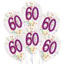 6 globos de látex gotitas 60 Confeti Cumpleaños 1C
