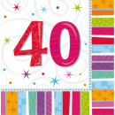 16 Servietten Radiant Birthday 40 33 x 33 cm