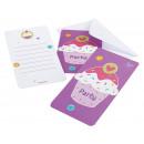 6 Einladungskarten Cupcake mit Umschlägen 14 x 8 c