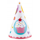 6 party hats cupcake 16.5 cm