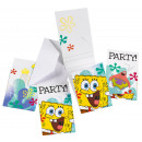 6 Invitations Spongebob with envelopes
