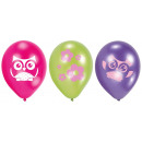 6 latex balloons owl 22.8 cm / 9 '