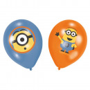 6 latex balloons Minions 4-colored 27,5 cm / 11 &#