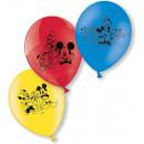 6 globos de látex Mickey Mouse 23 cm / 9 '