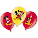 6 latex balloons Micky 4-colored 27,5 cm / 11 '