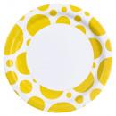 8 Teller Sunshine Yellow Dots 23 cm