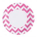 8 Teller Bright Pink Chevron 23 cm