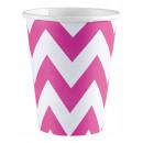 8 csésze Bright Pink Chevron 266 ml
