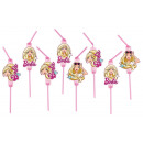8 drinking straws Barbie Popstar 24 cm