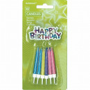 12 birthday candles with candle holders