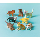 12 plastic toy cats