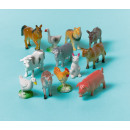 12 Spielzeug-Bauernhoftiere Plastik Länge 3 - 6 cm