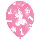 6 latex ballonnen afdrukken 1 roze 27,5 cm / 11 &#
