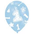 6 latex ballonnen Wereldwijde opdruk 1 blauw 27,5
