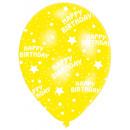 wholesale Food & Beverage: 6 Latex Balloons Global Print Happy Birthday 27.5