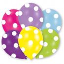 6 ballons en latex Global Print Polka 27,5 cm / 11