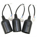 Lamp fitting e27 black / 3 pieces temporary