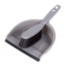 Brush and dustpan with rubber edge