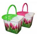Bucket 15 l + wringer / tulip print