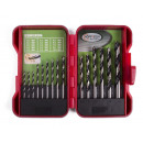 Drill set 15 pieces wood hardcase ht